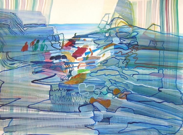 Cascade Sea , 2017, Watercolor on Paper,Josette Urso