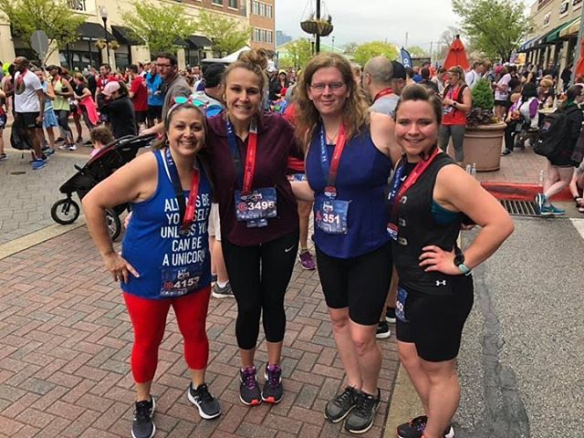 #squadgoals Love these amazing ladies in my running group 💕 🏃♀️Teamwork makes reaching our goals that much more fun. Can't wait to see what the rest of this season brings ✨ #charmcityrun #soleofthecity10k #charmcityrunfrederick