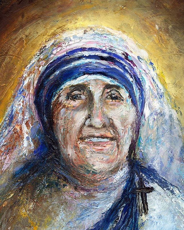 Mother Theresa painted with my pallet knife