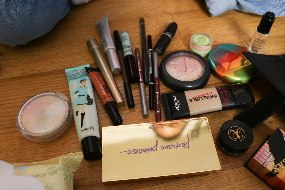 Sara's pile of makeup.