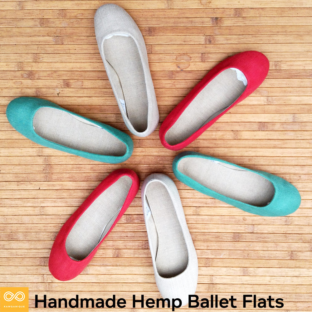 Handmade Ladies' Giselle Ballerinas Hemp Ballet Flats (Natural Rubber Sole)