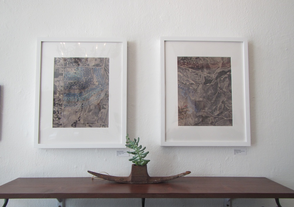 Embroidered ink paintings at Fleet Wood SF.