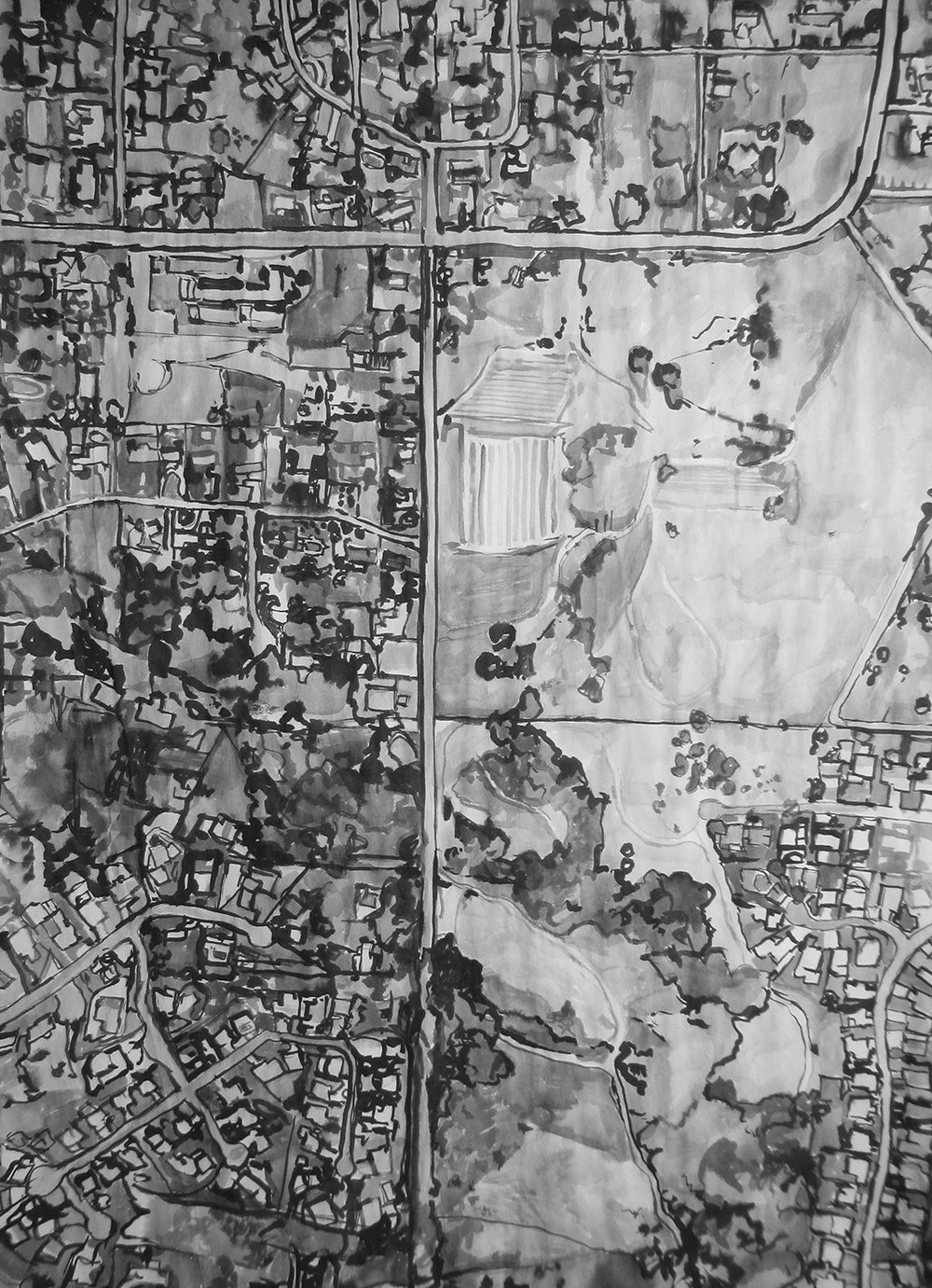 East County (Chicken Ranch), ink on paper, 2015
