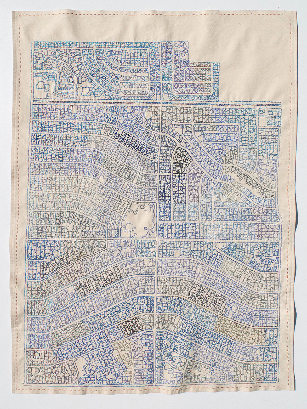 Cathedral City,embroidery thread on cotton fabric, 2017