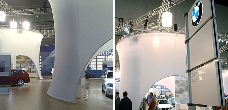 FABRIC & CURVED FRAME SOLUTION   BMW - INTERNATIONAL MOTOR SHOW AUSTRALIA @ MCEC