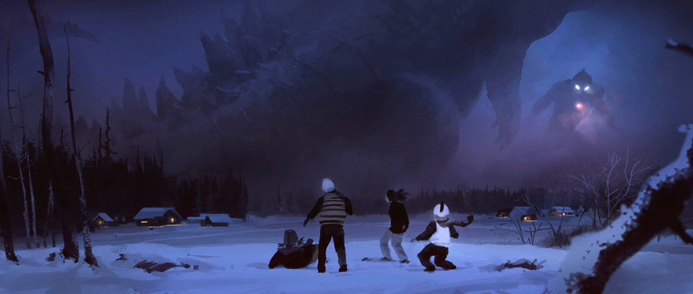 SNOW DAY  | Somewhere, someday, brawl of the century. Godzilla fan art.