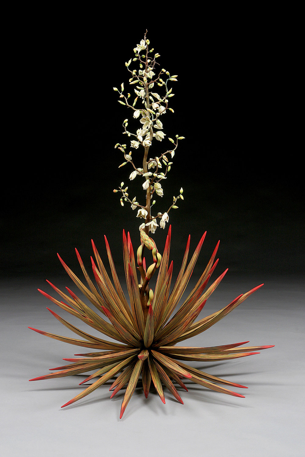 Yucca Temple of the Cool Beauty, 54h x 38w, Silica bronze, porcelain with abraded glaze, Moretti glass 1920.jpg