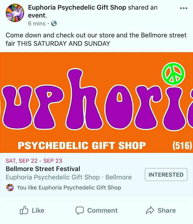 COME DOWN THIS WEEKEND TO OUR ANNUAL BELLMORE STREET FESTIVAL  10% off everything and more  CHECK OUT OUR BOOTH AND OUR STORE FOR MORE DEALS • • @euphoriabellmore #bellmore #streetfair #420 #710 #cbd #glass #incense #tshirts #smellproof #weedstagram #weedthepeople #forthepeople