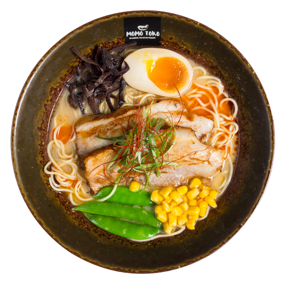 Chili Tonkotsu Ramen -15,50€ - Tonkotsu Pork Broth, Ramen Noodles, Momtoko Chili Oil, Pork Belly, Soy Marinated Half Egg, Wood Ear Mushrooms, Sugar Snap Peas, Corn, Scallions & Dried Chili Strips(G, M, SP)  (spicy)