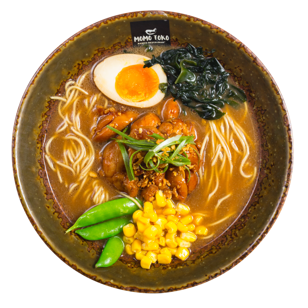Shoyu Ramen -15,50€ - Shoyu Pork Broth, Ramen Noodles, Chicken Thigh, Teriyaki Sauce, Soy Marinated Half Egg, Seaweed, Sugar Snap Peas, Corn, Scallions & Fried Garlic(G, M)