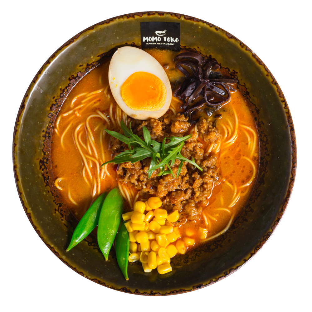 Tantanmen Ramen -15,50€ - Tantanmen Pork Broth, Ramen Noodles, Minced Pork, Soy Marinated Half Egg, Wood Ear Mushrooms, Sugar Snap Peas, Corn & Arugula(G, M, S, P, SP) (spicy)