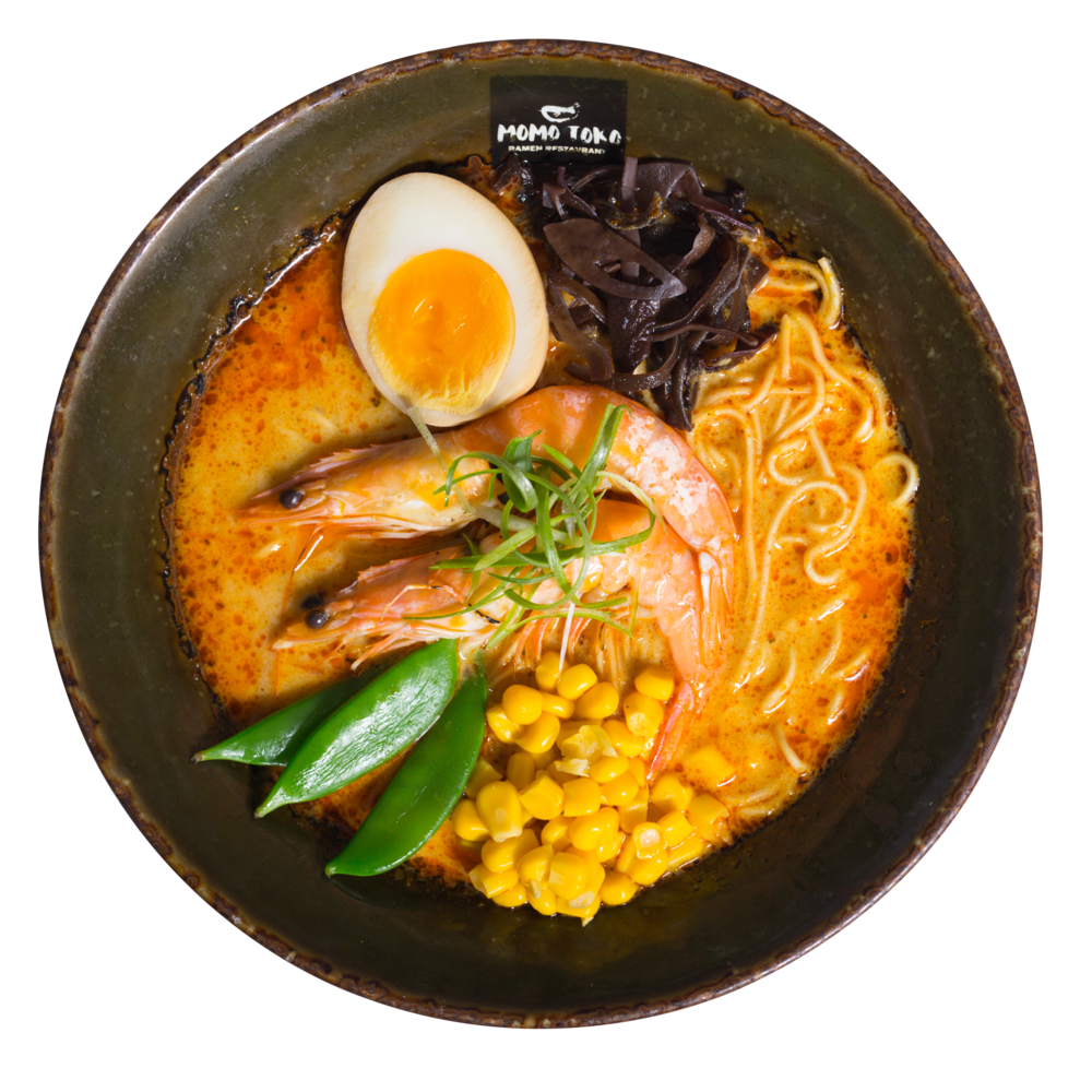 Laksa Curry Ramen -15,50€ - Laksa Curry Coconut Broth, Ramen Noodles, Prawns, Soy Marinated Half Egg, Wood Ear Mushrooms, Sugar Snap Peas, Corn & Scallions(G, M, Ä, SP) (spicy)