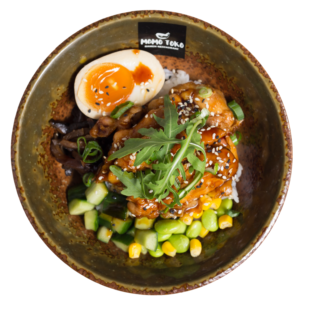 Teriyaki Chicken Donburi Rice -15,50€ - Rice, Teriyaki Chicken Thigh, Soy Marinated Half Egg, Edamame-Corn Mix, Marinated Shitake Mushrooms, Cucumber, Arugula & Sesame(M, S, SP)
