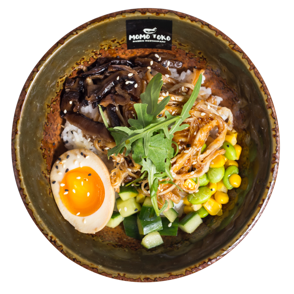 Ginger Pulled Pork Donburi Rice -15,50€ - Rice, Ginger Pulled Pork Belly, Soy Marinated Half Egg, Edamame-Corn Mix, Marinated Shitake Mushrooms, Cucumber, Arugula & Sesame(M, S, SP)