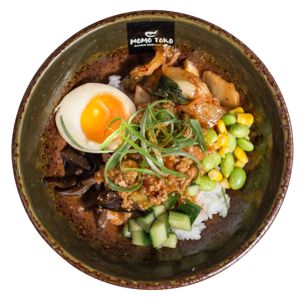 Korean Kimchi Pork Donburi Rice -15,50€ - Rice, Minced Pork, Soy Marinated Half Egg, Edamame-Corn Mix, Marinated Shitake Mushrooms, Cucumber, Kimchi, Scallions & Shichimi Chili Pepper(M, SP) (spicy)