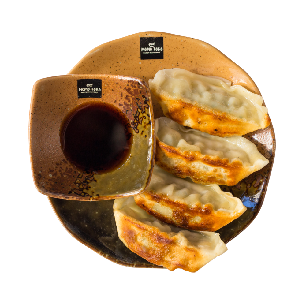 Japanese Style Chicken Gyoza-5,50€ - Pan Fried Chicken-Vegetable Dumpings & Sesame-Vinegar Sauce(G, S, SP)