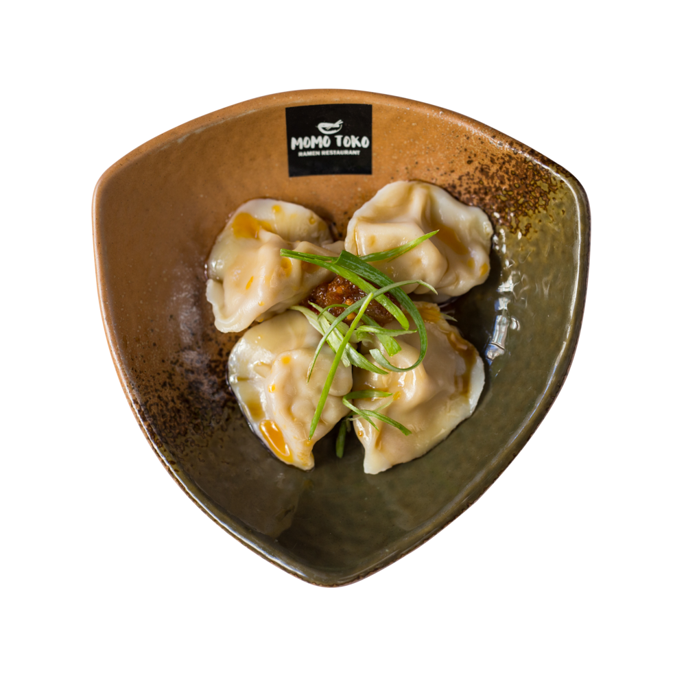 Sichuan Style Pork Dumpling -5,50€ - Boiled Pork-Vegetable Dumplings, Momotoko Chili Oil & & Sesame-Vinegar Sauce(G, S, SP) (spicy)