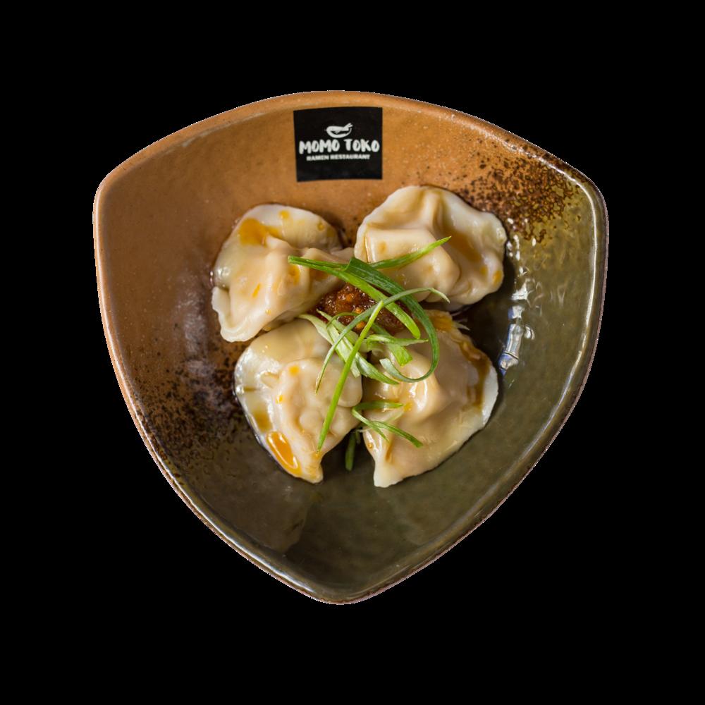 Sichuan Style Pork Dumpling -5,50€ - Keitettyä Possu-Vihannes Dumplings, Momotokon Chili-Öljy & Seesami-Etikka Kastike(G, S, SP) (mausteinen)