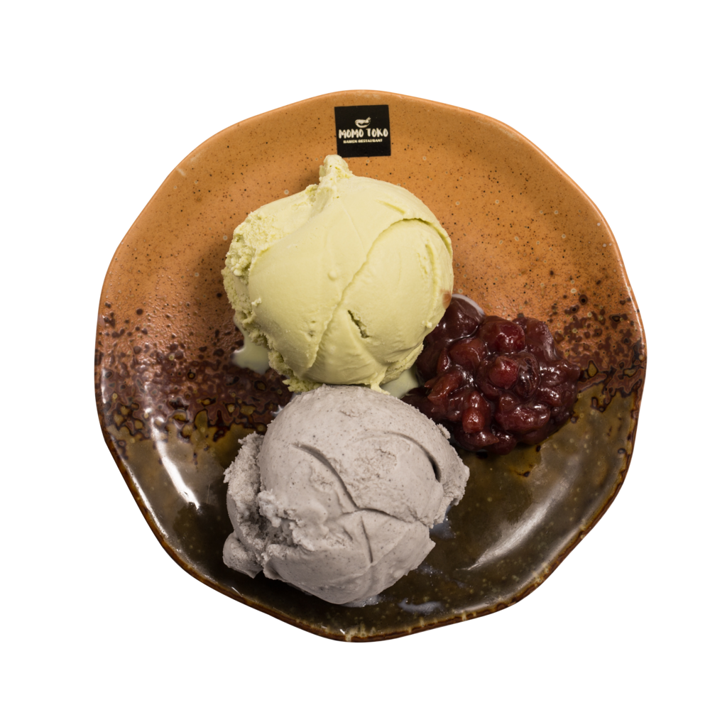 Double Ice Cream Set -5,50€ - Matcha Green Tea Ice Cream, Black Sesame Ice Cream & Sweet Red Beans(MA)