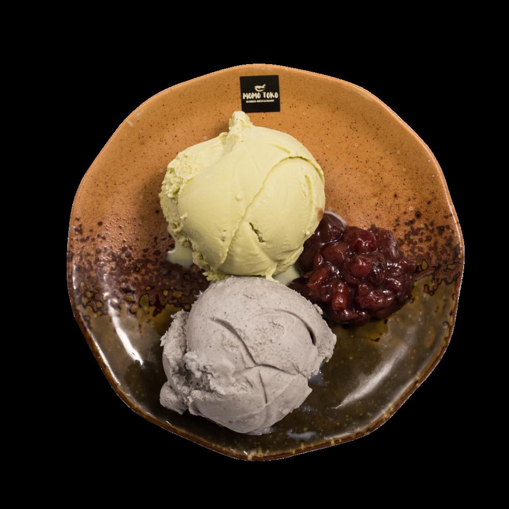 Double Ice Cream Set -5,50€ - Matcha Vihreätee Jäätelö, Musta Seesami Jäätelö & Makeaa Punapapua(MA)