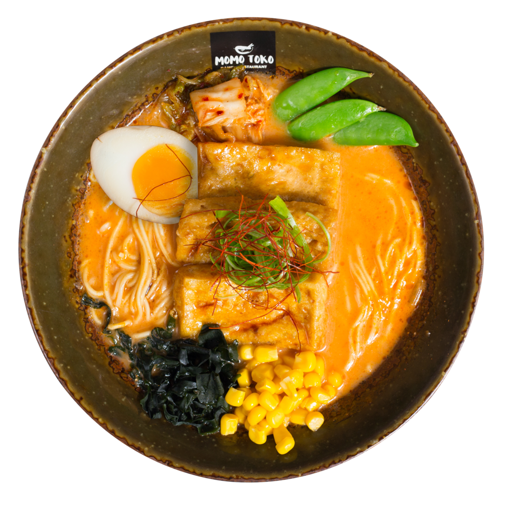 Kimchi Cheese Vege Ramen-15,50€ - Kimchi Cheese Broth, Ramen Noodles, Marinated Tofu, Soy Marinated Half Egg, Seaweed, Sugar Snap Peas, Corn, Scallions & Dried Chili Strips(ask for vegan option)(G, M, SP) (spicy)