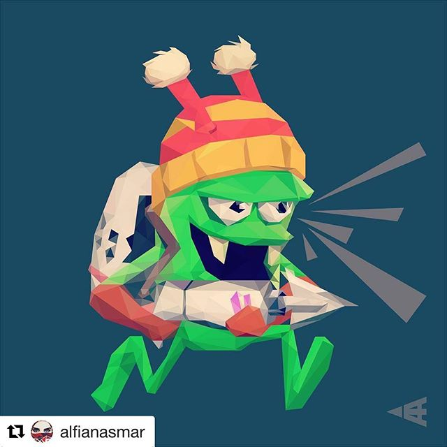 Amazing low polygon fan art by @alfianasmar #fanart #fanartfriday - Maafin aku yg terlalu sibuk mengejar zombie sampai lupa cara mengejar dirimu 😳 #zombiecatchers #lowpolyart #vector #instaart #gamers #androidgames