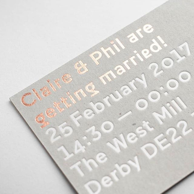 We designed and printed these invites for the lovely Claire & Phil who got married last year at the ultimate industrial wedding venue @westmillvenue. Rose gold and white foil hand printed onto thick recycled greyboard  #weddingdesign #weddinginspiration #weddinginvite #weddinginvitation #weddingstationery #greyboard #hotfoil #handprinted #print #printmaking #printspotters #coolwedding #industrialwedding #creativewedding #modernwedding #modernbride #coolbride #realwedding #weddingideas #loveislove