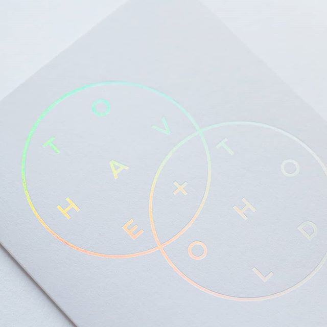 Holographic foil #weddingstationery inspiration from a @jotpaperco card  #holographic #holographicfoil #tohaveandtohold #weddingvows #weddingpaper #coolwedding #coolbride #colourfulwedding #rainbowwedding #weddinginvite #weddinginvitation #weddingideas #weddinginspiration #weddingdesign #peopleofprint #printmaking #print #printspotters #weddingprint #creativewedding #wedding #loveislove