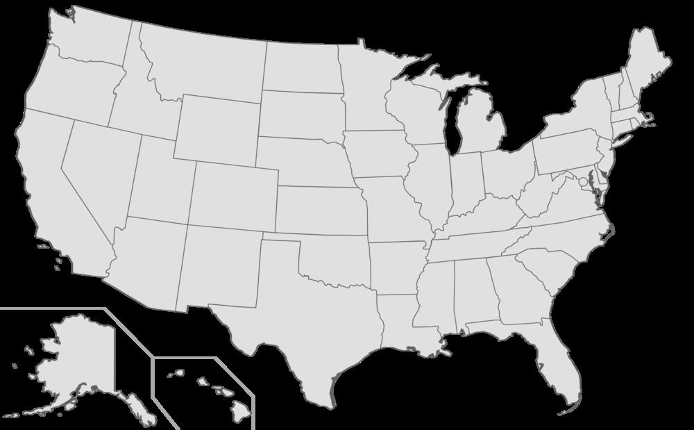 Landlordtenantlaws - Blank us map no states