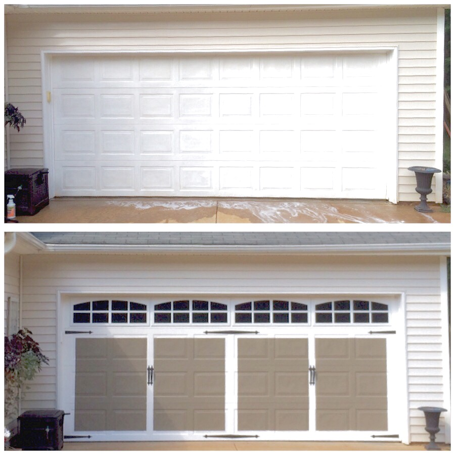 Plum pretty decor design co faux carriage style garage for Faux painted garage doors