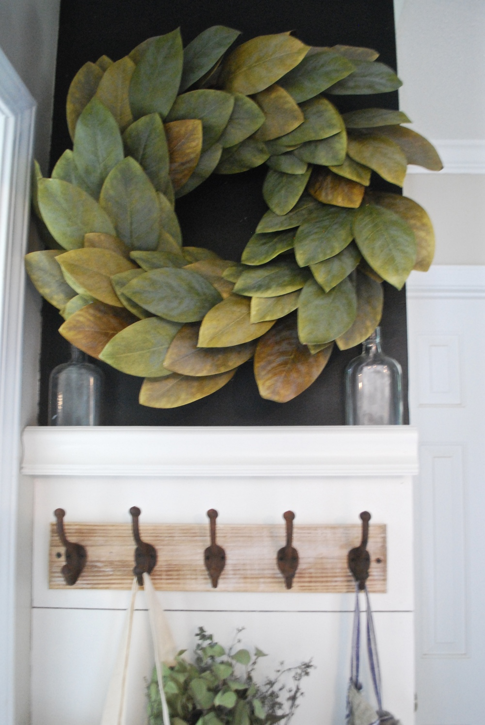 DIY Shiplap Entry Way with Magnolia Wreath
