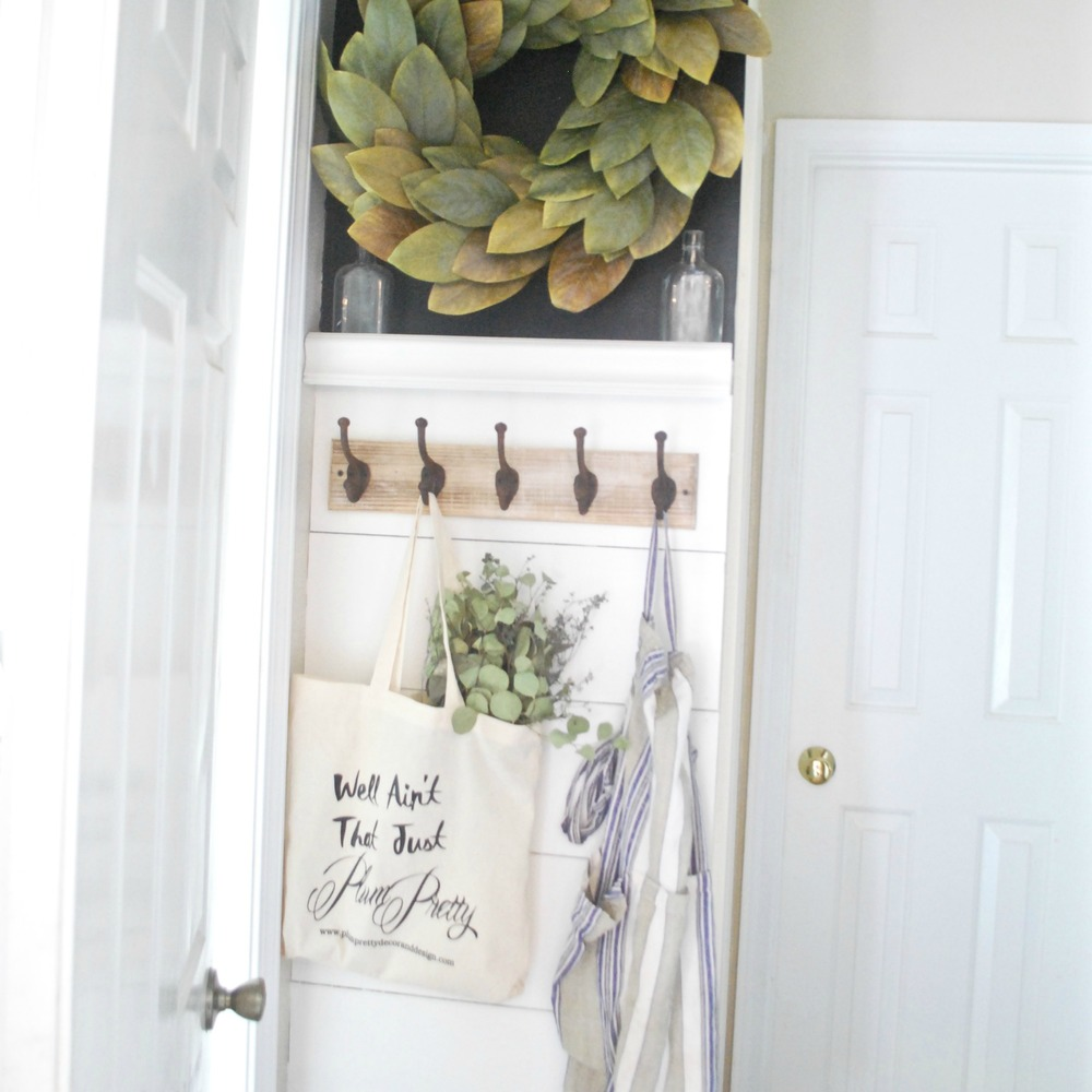 DIY Faux Shiplap Magnolia Wreath Old Bottles and Whitewashed Hooks