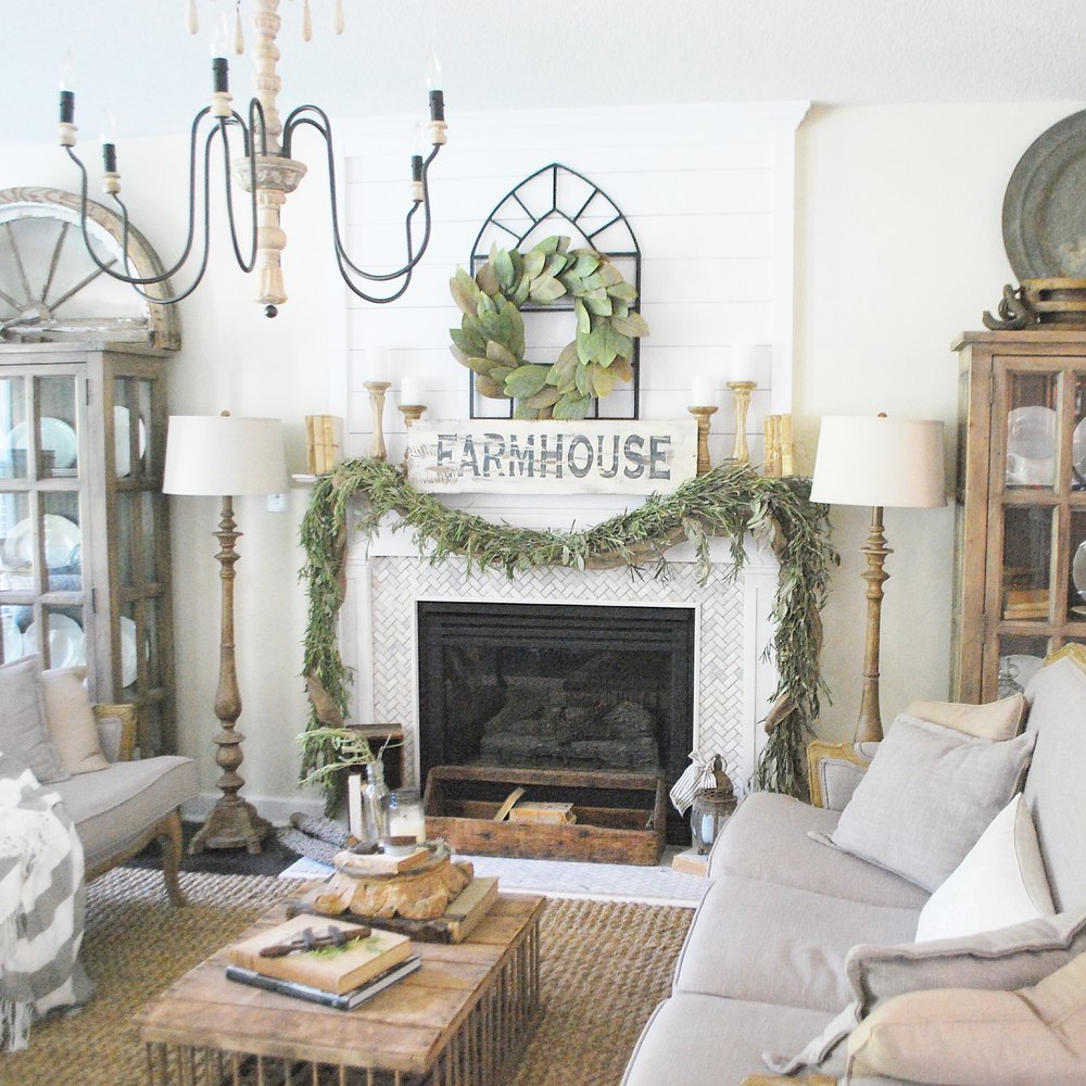 Plum pretty decor design co my cozy french farmhouse for Farmhouse fireplace decor