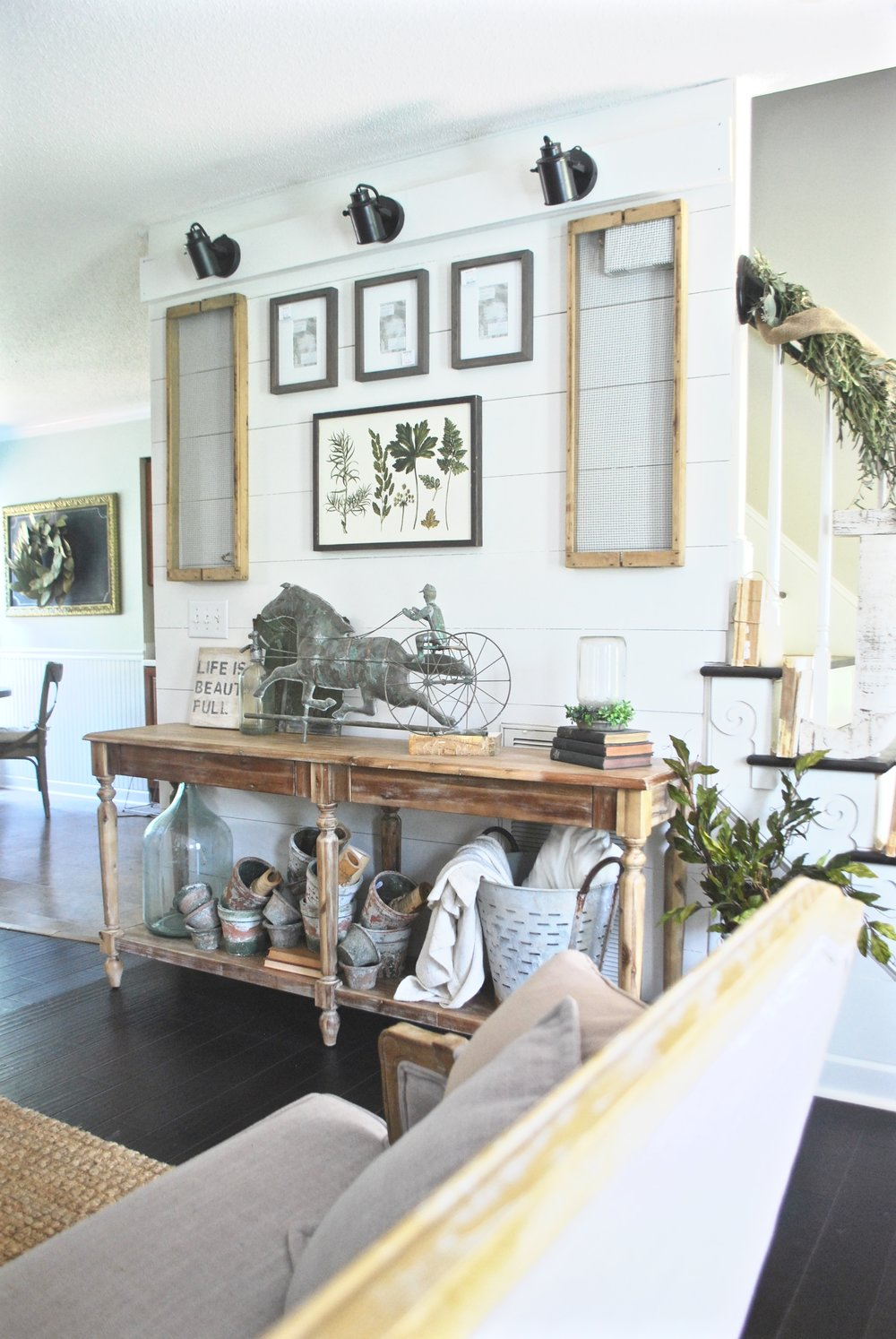 French Farmhouse Living Room- Everetts World Market Console Table