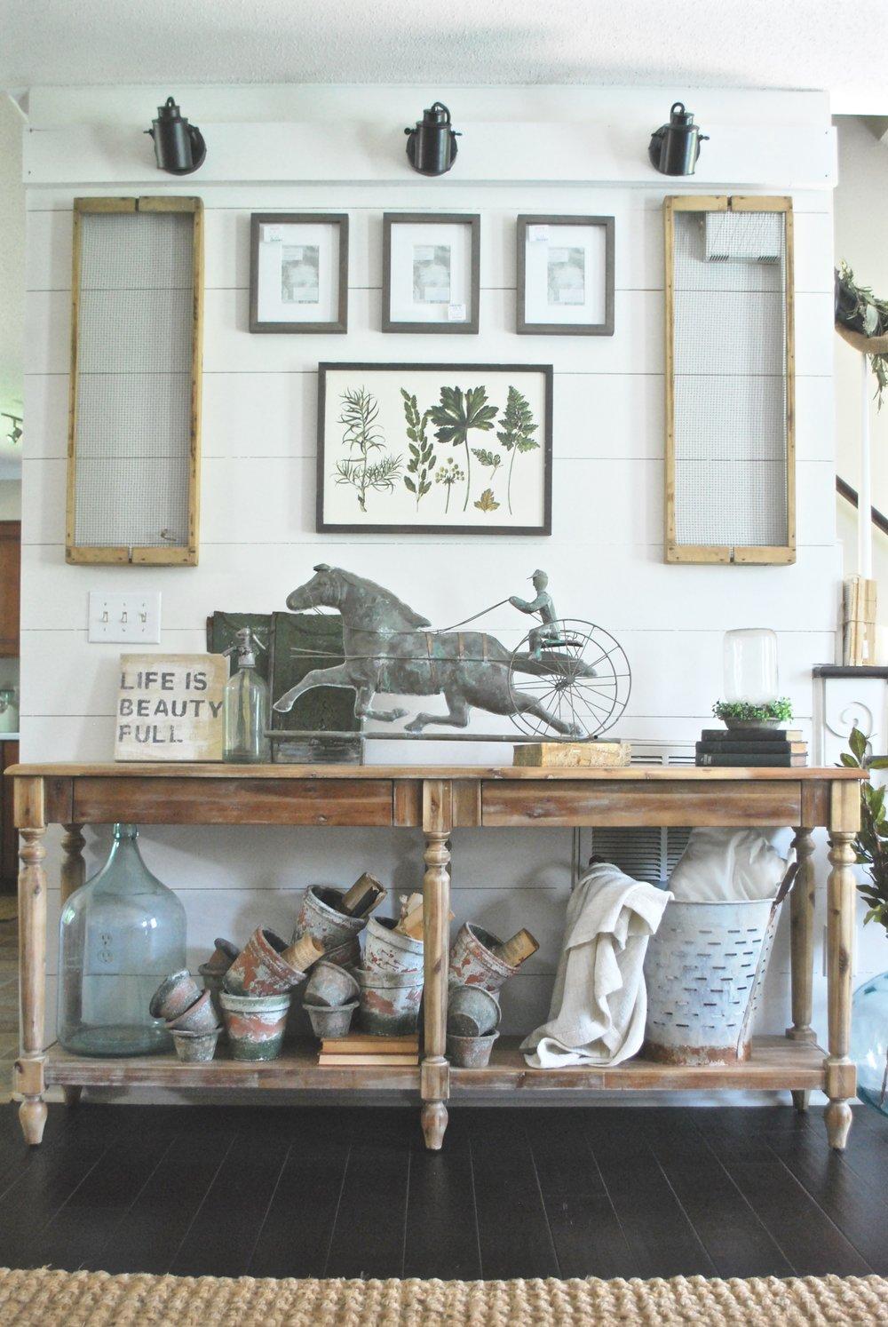 French Farmhouse Living Room  Plum Pretty Decor And Design  World Market  Console Table