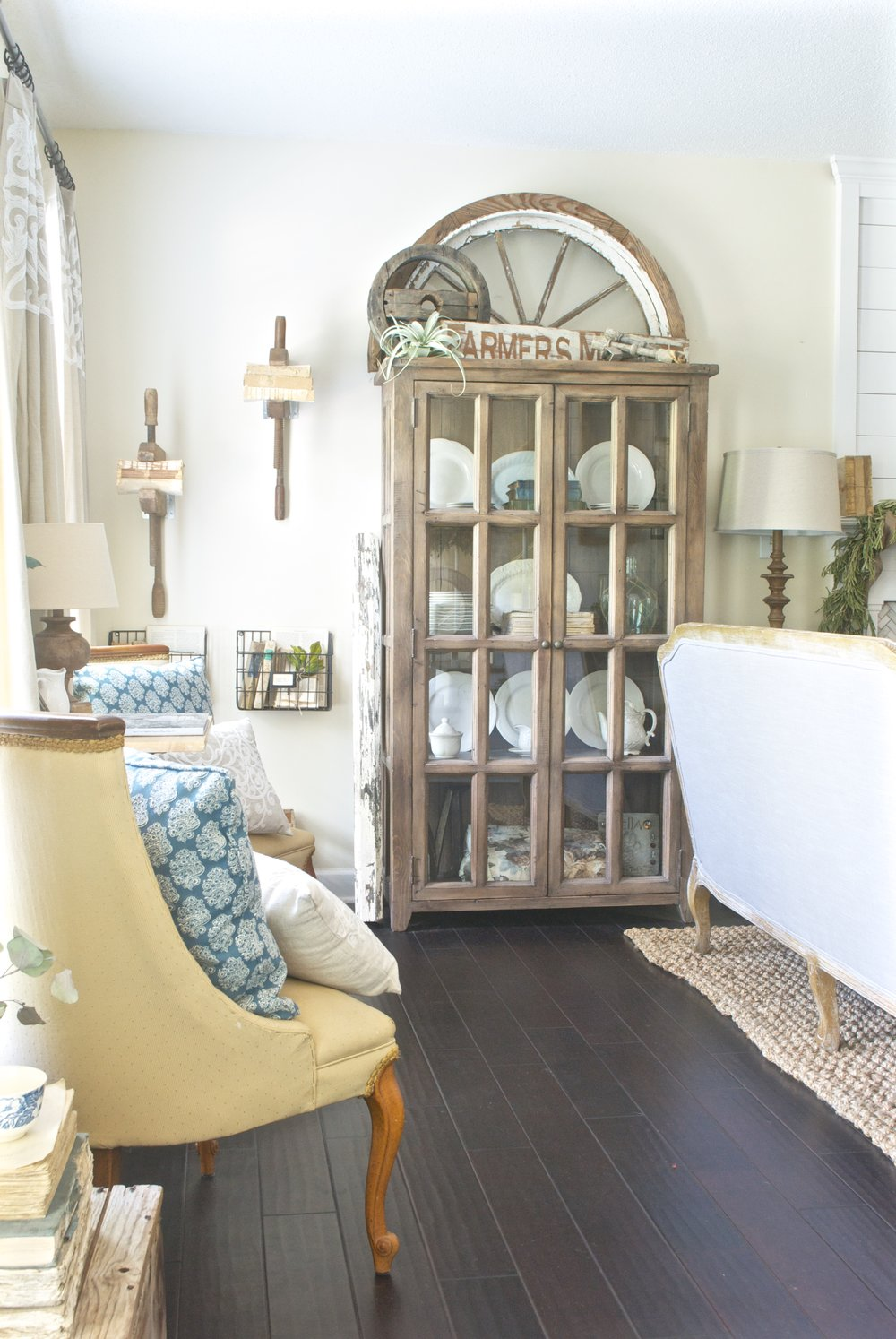 French Farmhouse Living Room Display Cabinets
