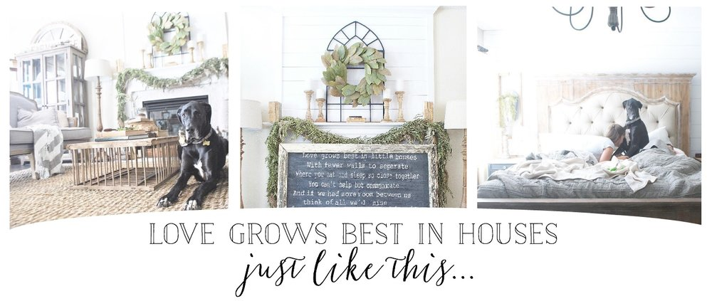 Plum Pretty Decor & Design- Chippy White Frame Sign, Love Grows Best in Houses Just Like This