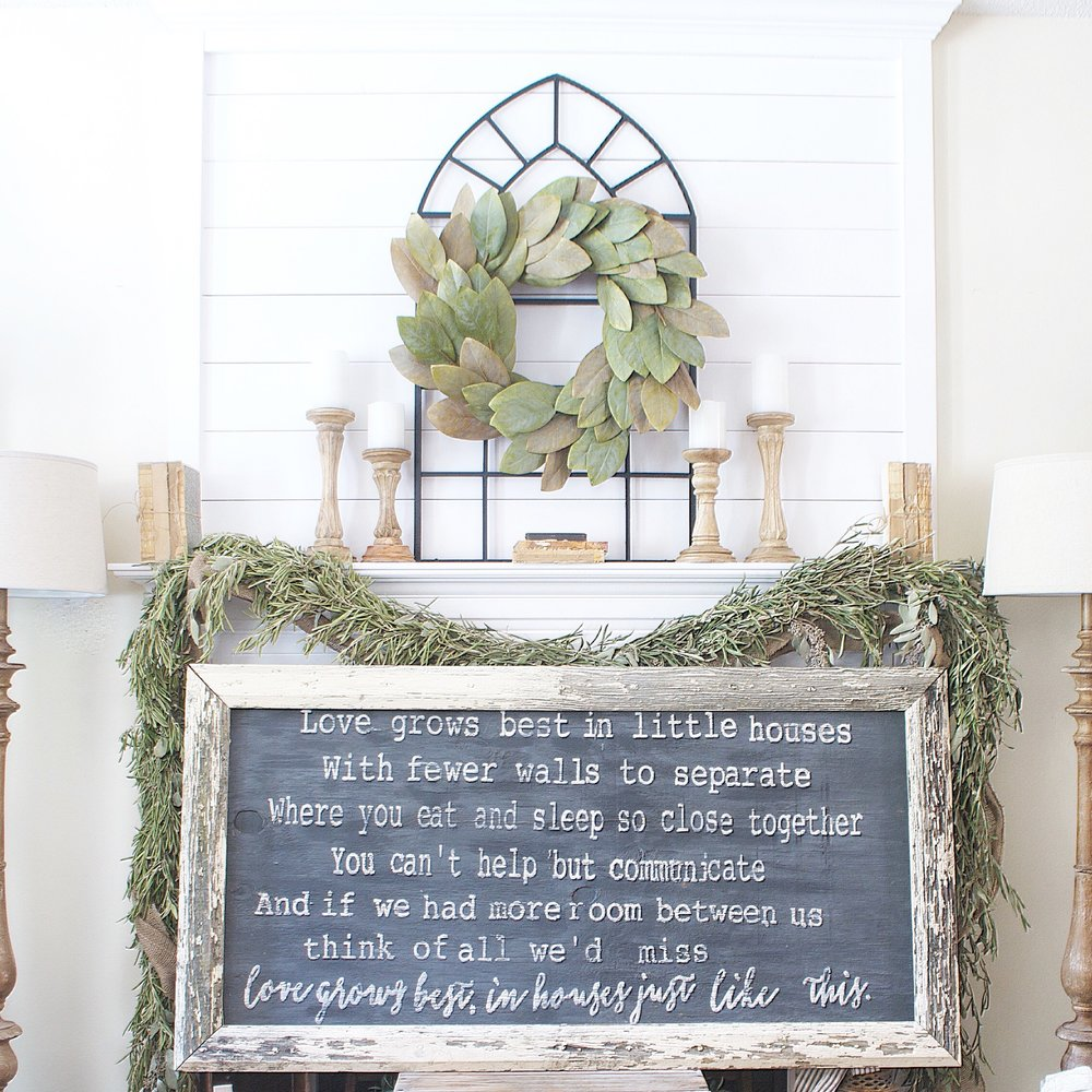 White Chippy Frame Sign- Loves Grows Best In Houses Just Like This