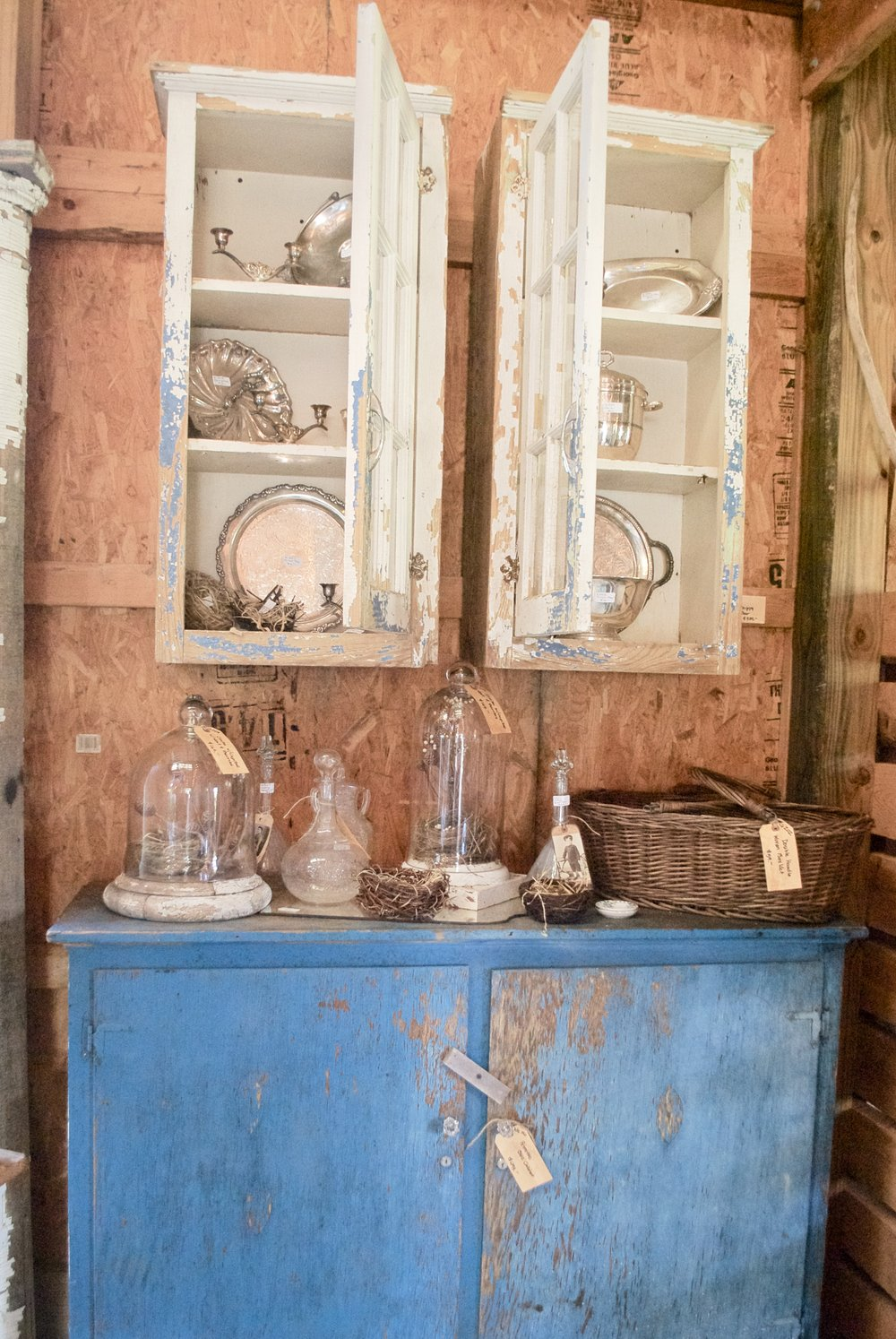 The French Farmer's Wife- Barn Sale- Blue Chippy cabinet