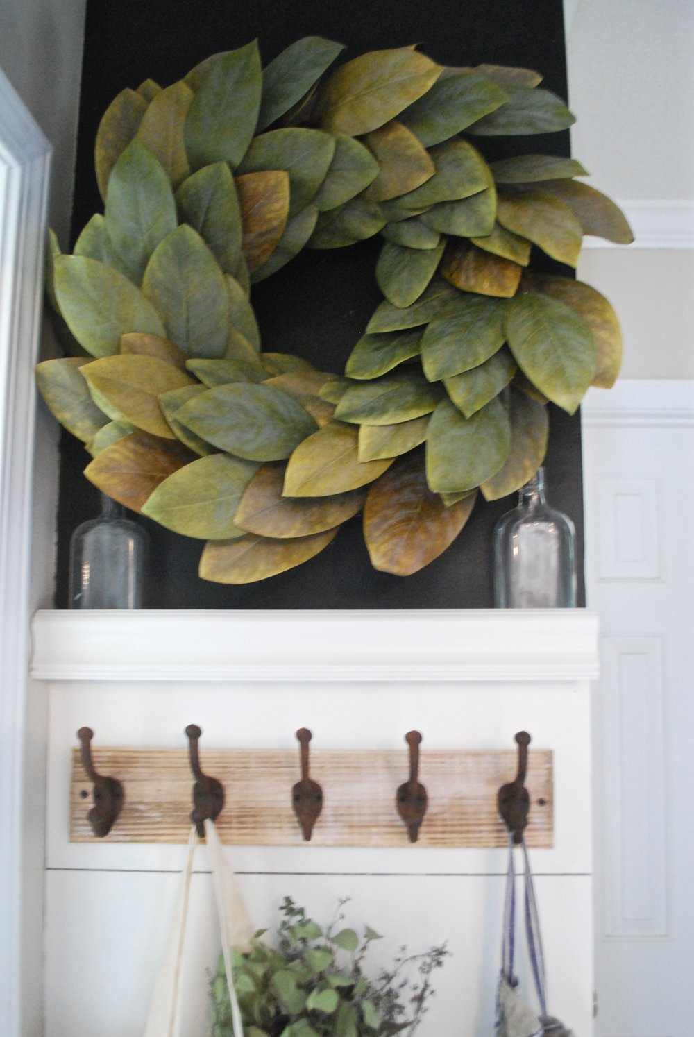 Shiplap Entry Way by Plum Pretty Decor and Design Styled with a Magnolia Wreath