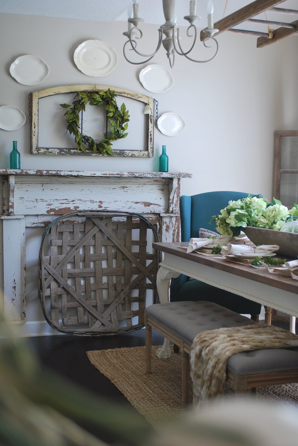 Farmhouse Dining Room with Faux Mantle by Plum Pretty Decor and Design