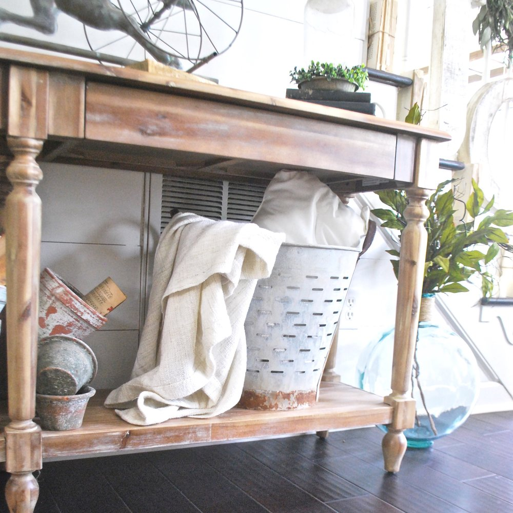 Console Table With Olive Bucket- Farmhouse Style- Plum Pretty Decor and Design