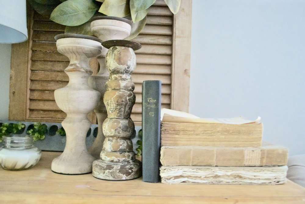 Plum Pretty Decor and Design Farmhouse Master Bedroom Tour-  Candle Sticks and Old Books