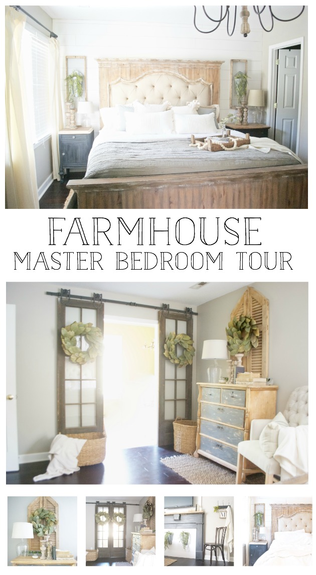 Plum Pretty Decor and Design Farmhouse Master Bedroom Full Tour- Shiplap, Faux Fireplace, French Doors on Barn Door Hardware