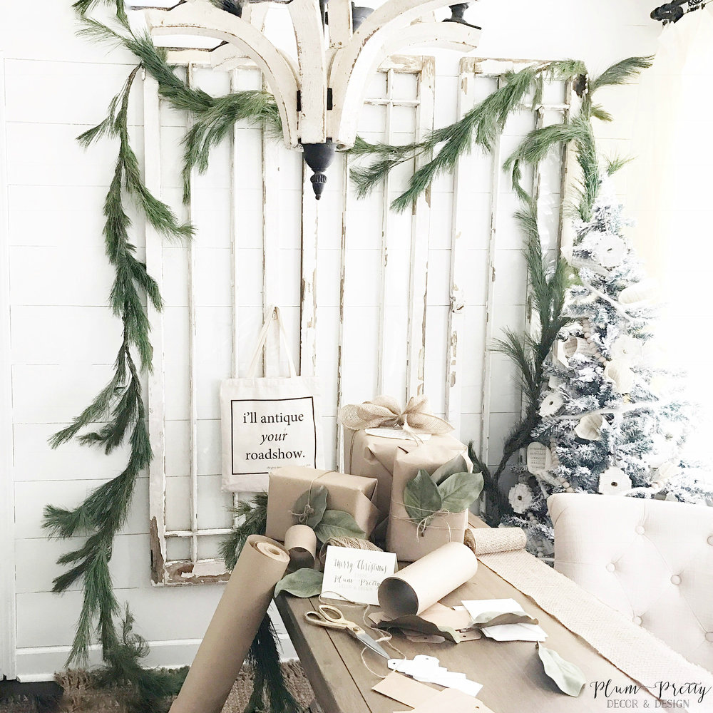 Farmhouse Style Office Decorated of Christmas- Plum Pretty Decor and Design