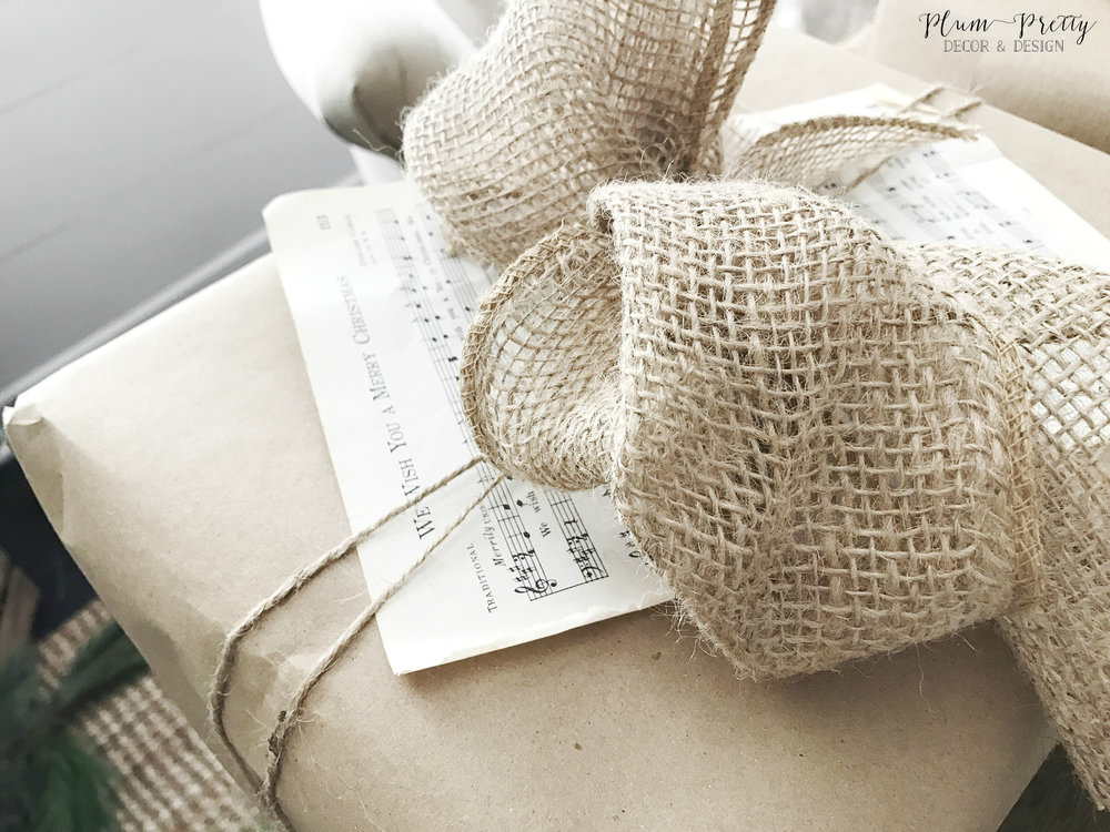 Simple Craft Paper Wrapping with Burlap Bow and Music Sheet- Plum Pretty Decor and Design