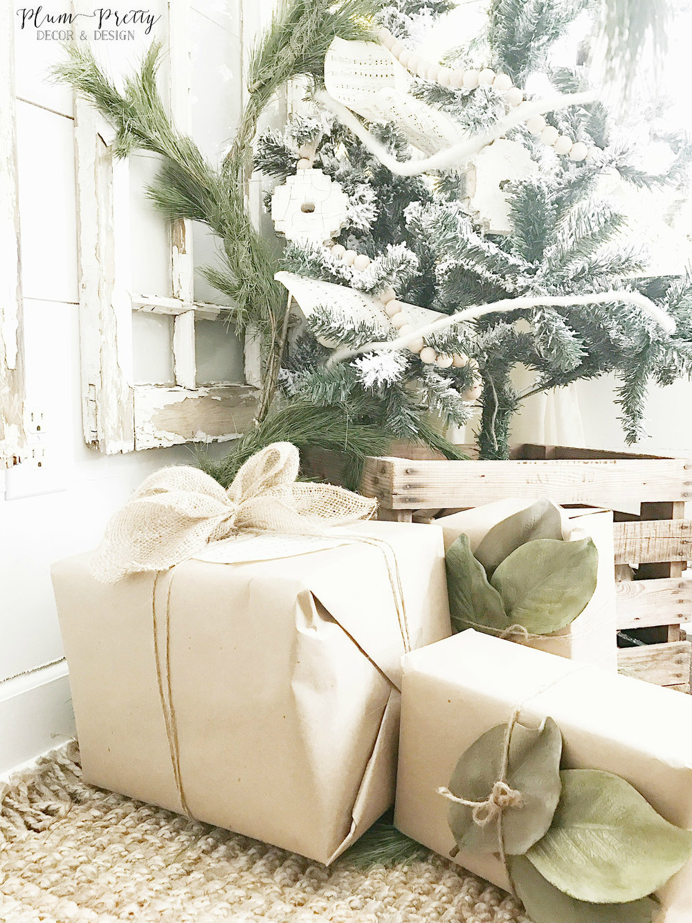 Neutral Christmas Decor in a Farmhouse Style Office- Plum Pretty Decor and Design