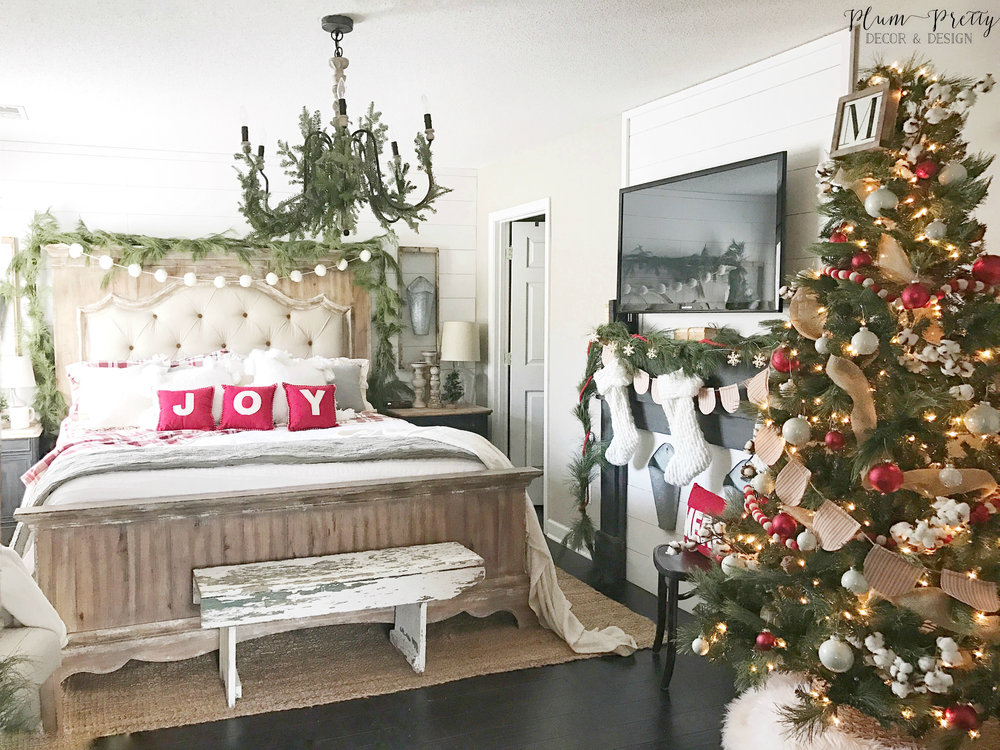 Plum pretty decor design co a farmhouse christmas bedroom for Pretty decorations for bedrooms