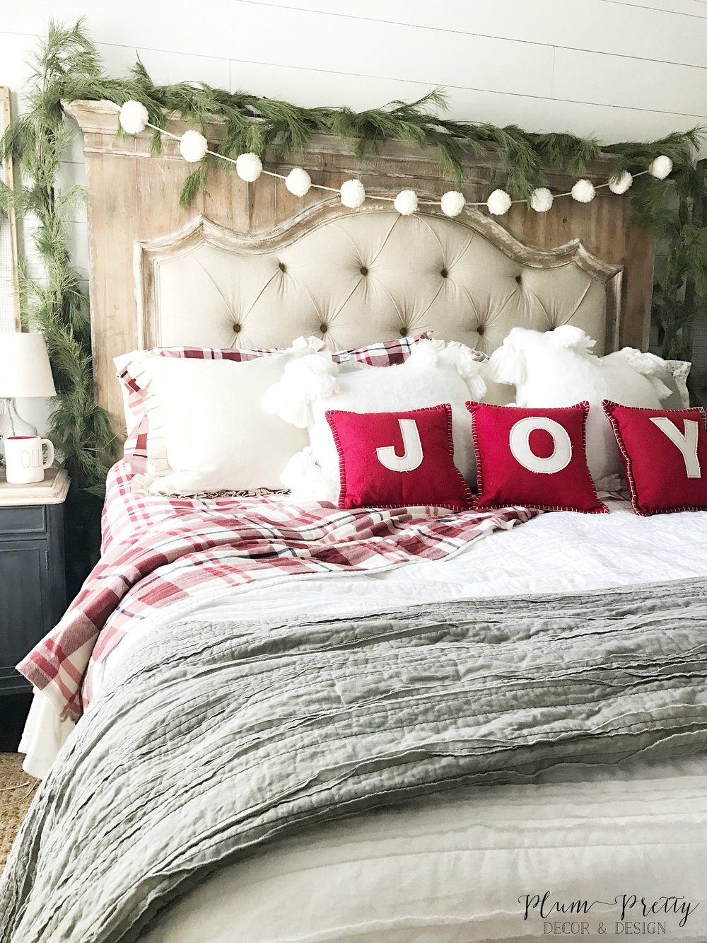 Farmhouse Christmas Bedroom- Target Joy Pillows- Designed by Kayla Miller of Plum Pretty Decor and Design