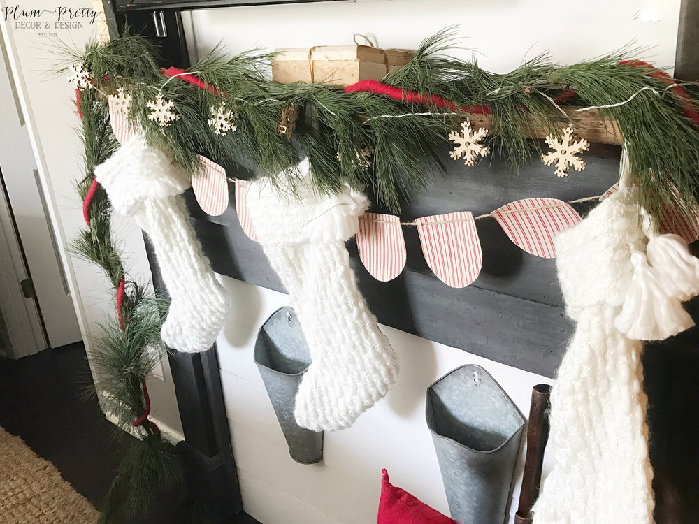 Farmhouse Christmas Bedroom Tour- White Knitted Stockings- Kayla Miller of Plum Pretty Decor and Design